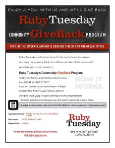 Ruby Tuesday Feb Dine Out